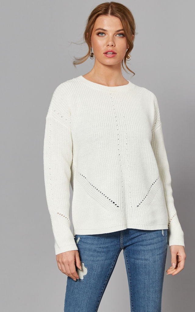 Ribbed Jumper with Eyelet Detail in White by Pieces