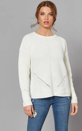 Ribbed Jumper With Eyelet Detail In White by Pieces Product photo