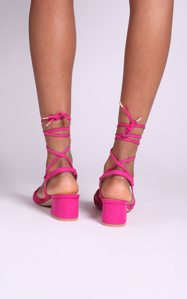 Cross My Heart Pink Suede Lace Up Sandals With Block Heels by Linzi