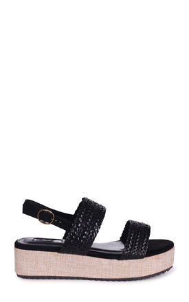 Morocco Black Flatforms With Plaited Front Straps by Linzi
