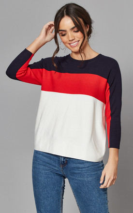 Colour Block Jumper In Navy, Red And White by ONLY Product photo