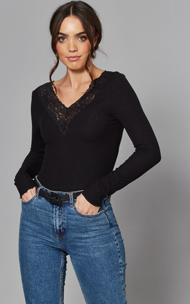 Long Sleeve Top With Lace V Neck In Black by Pieces Product photo