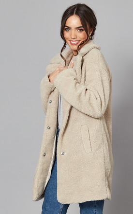 Teddy Coat with High Collar in Cream by VILA