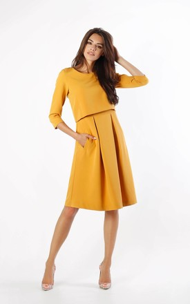 Yellow Layered Flared Dress with Pockets by By Ooh La La