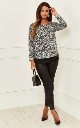 Long Sleeve Top With Black Hem In Grey Leopard by Bella and Blue Product photo
