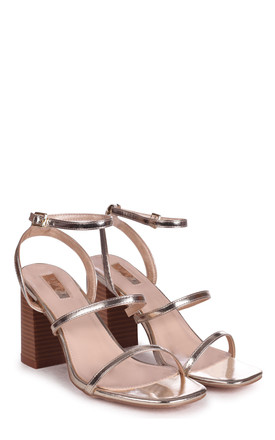Bondi Gold Nappa Strappy Sandals with Block Heels by Linzi