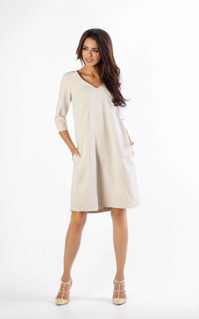 A-Line Dress with Pockets in Beige by By Ooh La La