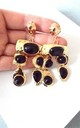Clip On Jewelled Statement Earrings in Black/Gold by Olivia Divine Jewellery