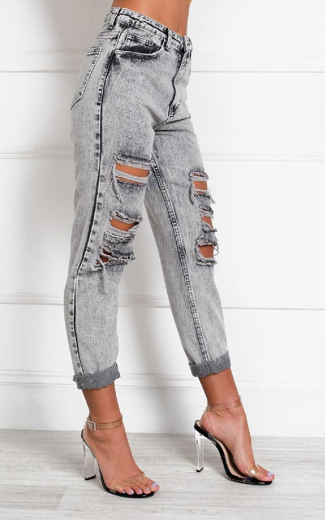 Orlagh Distressed Straight Leg Jeans by IKRUSH