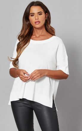 Short Sleeve Knitted Top In White by Selected Femme Product photo