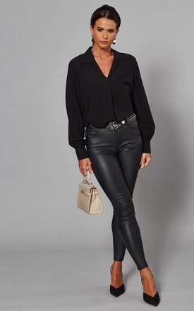Black Long Sleeve V Neck Collared Blouse by Selected Femme Product photo