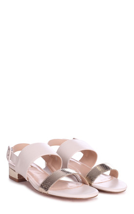Cheska Nude & Gold Lizard Sandals with Small Block Heels by Linzi