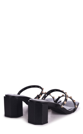 Millionairess Black Square Toe Mules With Studded Double Front Strap by Linzi