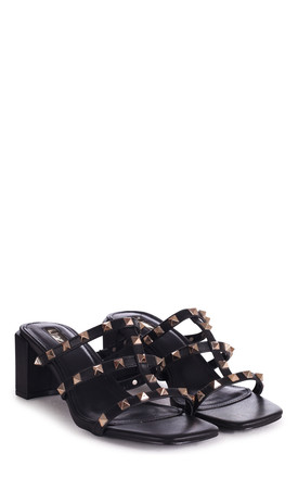 Royalty Black Square Toe Mules With Studded Gladiator Front Strap by Linzi
