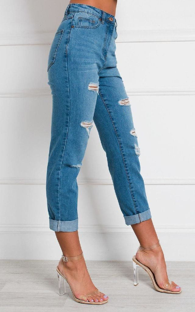 Benji Distressed Straight Leg Jeans by IKRUSH