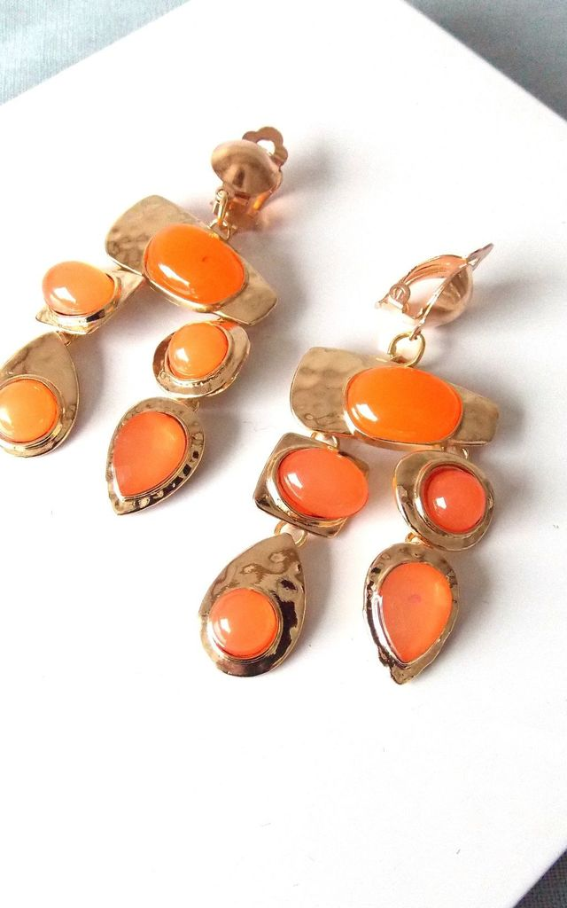 Clip On Jewelled Statement Earrings in Orange/Gold by Olivia Divine Jewellery