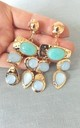 Clip On Jewelled Statement Earrings in Aqua/Gold by Olivia Divine Jewellery