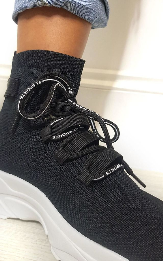 Fallon Chunky Sock Trainers in Black by IKRUSH