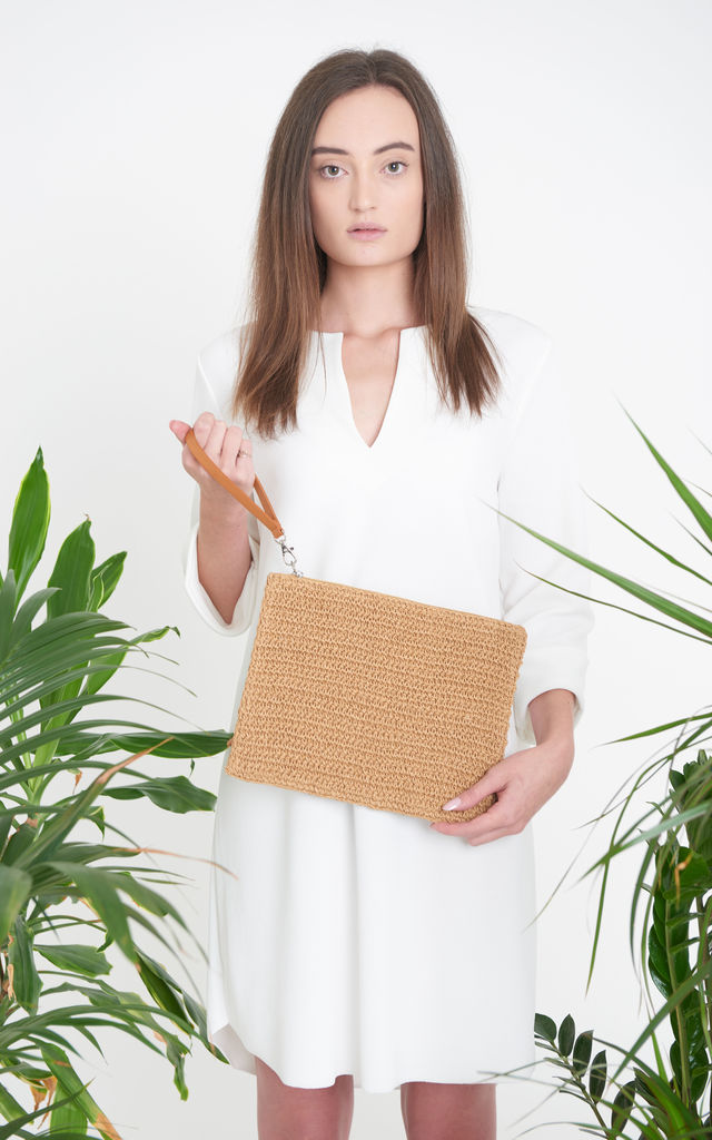 Aima Natural Clutch Bag with Detachable Strap by ellyla -ethical & eco friendly accessories