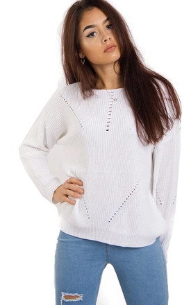 Long Knitted Jumper in White by LOES House