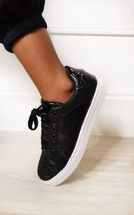 Penelope Glitter Metallic Trainers in Black by IKRUSH