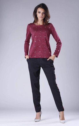 Maroon Jumper with Heart Details by By Ooh La La