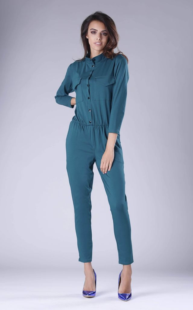 Green Jumpsuit with Pockets by By Ooh La La