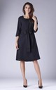 Black Flared Dress with Bow in Front by By Ooh La La