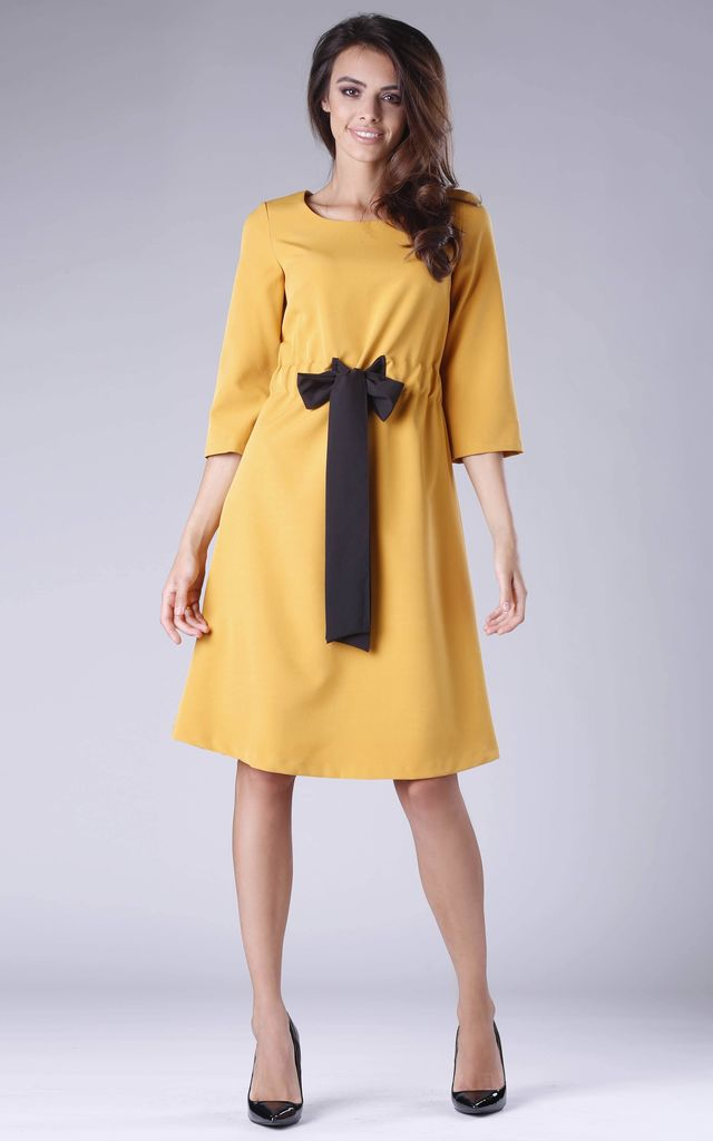 Yellow Flared Dress with Bow in Front by By Ooh La La