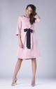 Pink Flared Dress with Bow in Front by By Ooh La La