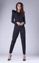 Black Jumpsuit with Frill Shoulders by By Ooh La La
