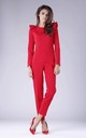 Red Jumpsuit with Frill Shoulders by By Ooh La La