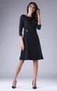 Black A-Line Flared Dress with 3/4 Sleeves by By Ooh La La