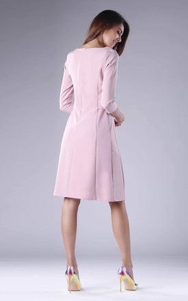 Pink A-Line Flared Dress with 3/4 Sleeves by By Ooh La La