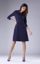 Navy A-Line Flared Dress with 3/4 Sleeves by By Ooh La La