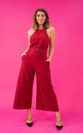 Luanna Belted Jumpsuit in Red by Style Cheat
