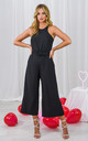 Luanna Belted Jumpsuit in Black by Style Cheat