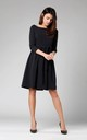 Black Flared Dress with Pockets Tied at Waist by By Ooh La La
