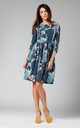 Birds Print Flared Dress with Pockets Tied at Waist by By Ooh La La