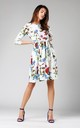 Flowers Print Flared Dress with Pockets Tied at Waist by By Ooh La La