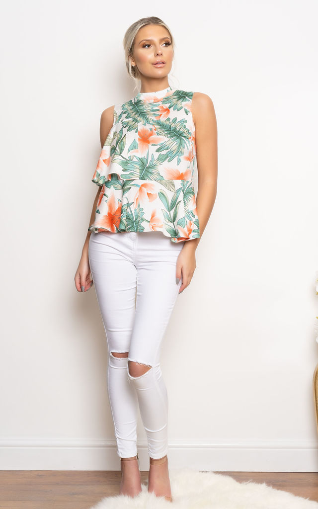 Solace Sleeveless Layered Top in Floral Print by Miss Attire