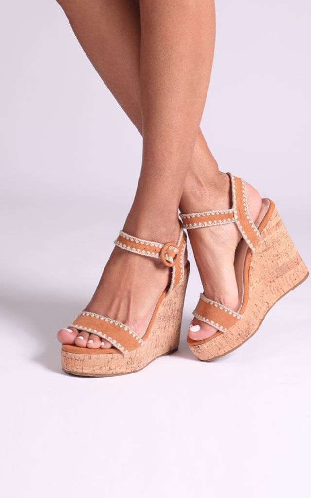 Lucia Tan Suede Cork Wedges With Macrame Trim by Linzi