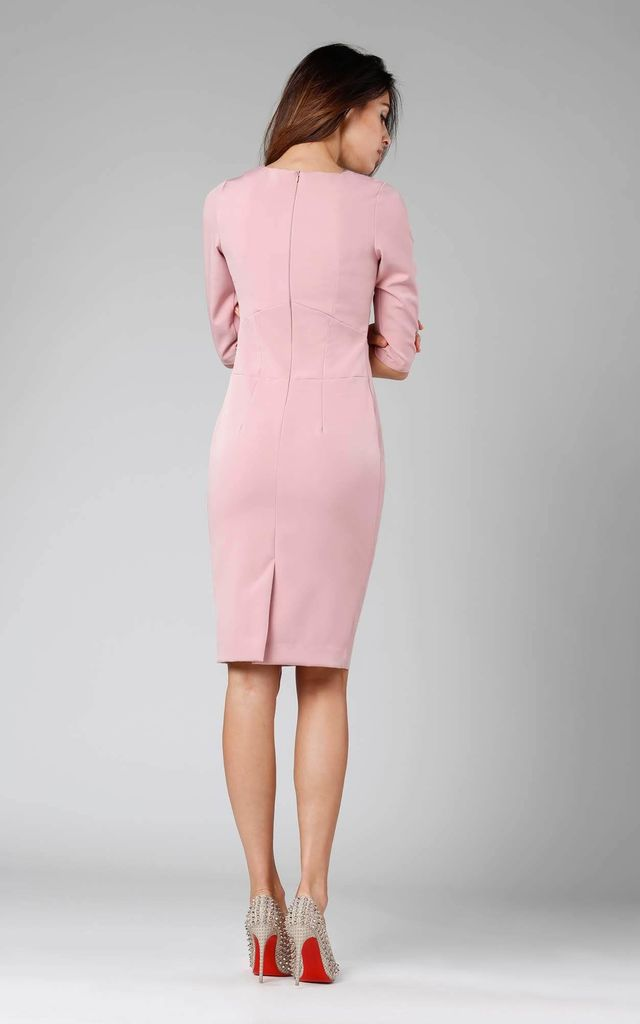 Tailored Dress with 3/4 Sleeves in Powder Pink by By Ooh La La