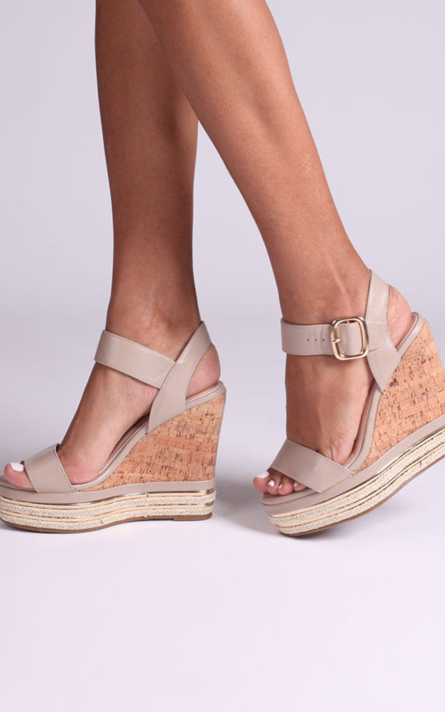 April Taupe Nappa Cork Wedges With Gold & Rope Trim by Linzi