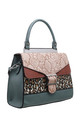 FLAP-OVER BUCKLE TOP HANDLE BAG IN PINK/ANIMAL PRINT by BESSIE LONDON