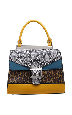 FLAP-OVER BUCKLE TOP HANDLE BAG IN YELLOW/ANIMAL PRINT by BESSIE LONDON