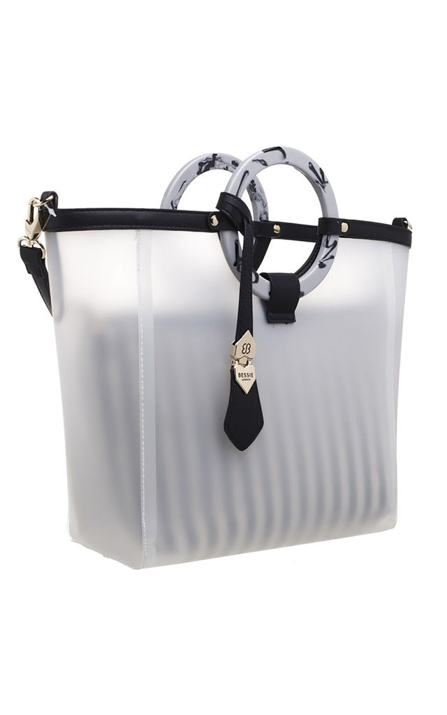 CANVAS BAG-IN-BAG WITH BLACK ACRYLIC CIRCLE HANDLE by BESSIE LONDON