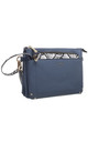 BLUE CROSSBODY BAG WITH DETACHABLE SNAKE PRINT FRONT POCKET by BESSIE LONDON
