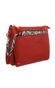 RED CROSSBODY BAG WITH DETACHABLE SNAKE PRINT FRONT POCKET by BESSIE LONDON