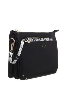 BLACK CROSSBODY BAG WITH DETACHABLE SNAKE PRINT FRONT POCKET by BESSIE LONDON